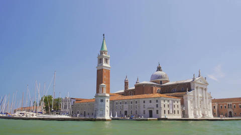View of old San Giorgio Maggiore church from tour boat, sightseeing, Venice Footage