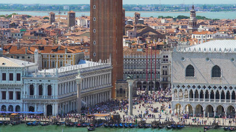 Crowds of tourists walking on Saint Mark's square in Venice, top view, tourism Footage