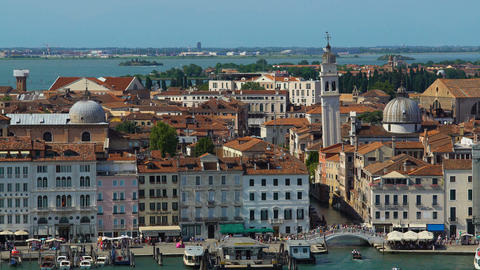 Antique architecture of Venice, view of buildings and tourists walking on bridge Footage