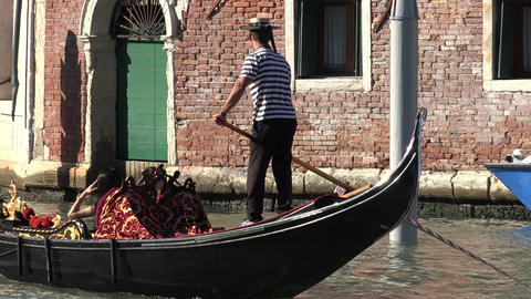 Tourism Of Venice Italy Gondola In Canal