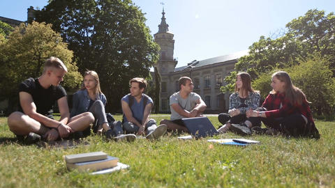 Group of students chatting on campus lawn ビデオ