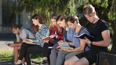 Group of college students studying together Live Action