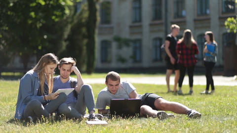 College students using laptop and tablet on lawn Live Action