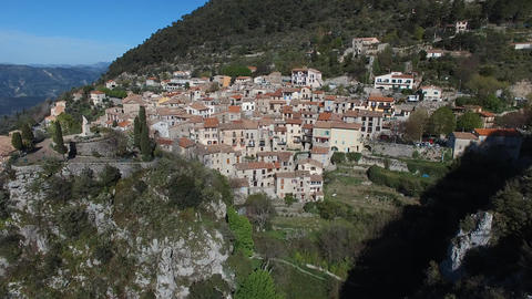 Small hilltop village of Peille located in the hinterland of Nice, filmed by dro Live Action