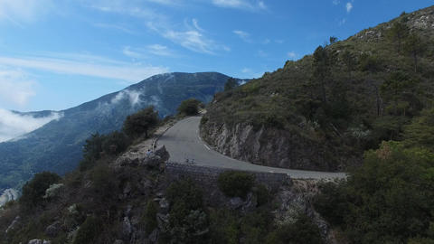 4x4 road near Peille located in the hinterland of Nice, filmed by drone, France Live Action