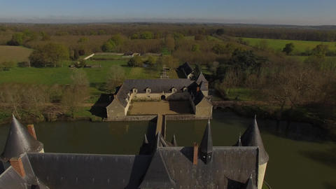 Aerial view of the drone by Château du Plessis-Bourré in spring, Loire Valley Live Action