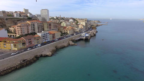 Aerial view of the Corniche Kennedy from the Catalans, filmed by drone, Marseill Footage