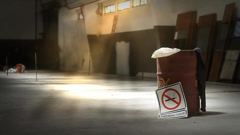 No Smoking Sign In Empty Warehouse Footage