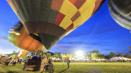 4K Timelapse Of Temecula Hot Air Ballon Festival stock footage