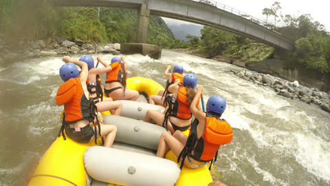 whitewater river rafting pilot giving commands Footage