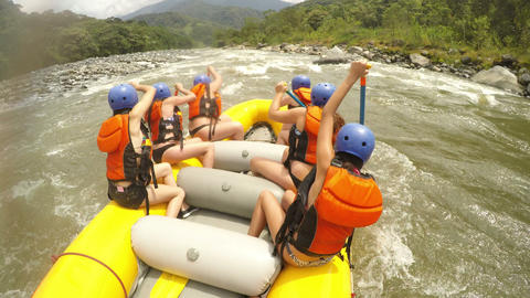 bikini girls on extreme whitewater rafting Footage