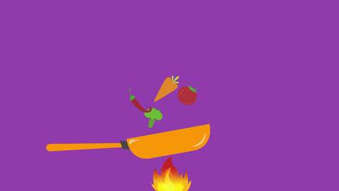Healthy Food Concept, cocking vegetables with frying pan with space for text Animation