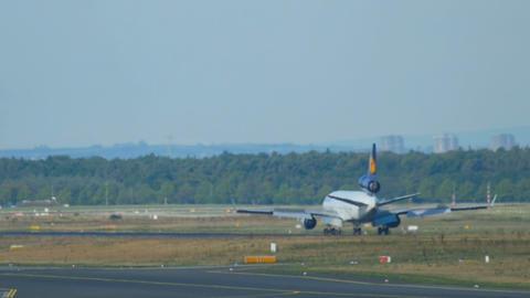 Airplane braking after landing Live Action