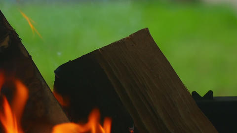 Wood burning, slow motion Footage