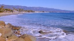 Waves breaking on beach in Santa Barbara Footage