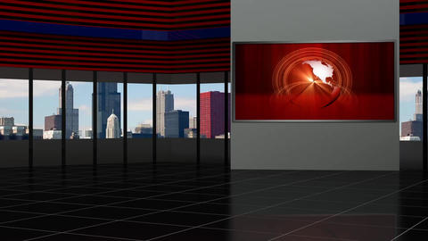 News TV Studio Set 92 - Virtual Background Loop Live Action