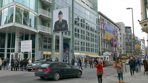 11 Berlin German City Germany Europe Checkpoint Charlie Tourists People Footage
