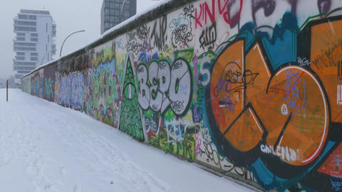 13 Berlin Wall German City Germany Europe In Winter Snow Footage