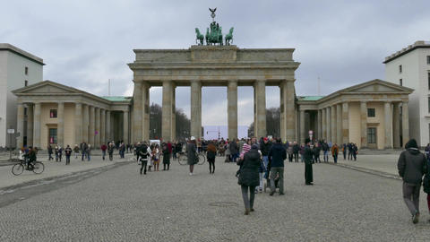 9 Berlin German City Germany Brandenburg Gate Tourists People Monument Footage