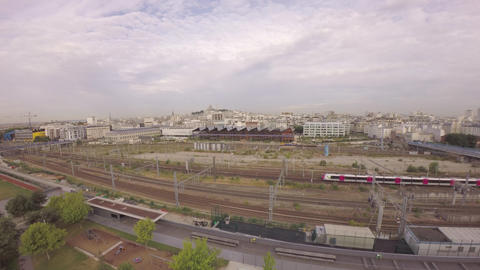 Panoramic aerial view of TGV high speed train passing at Gare du Nord with Halle Footage