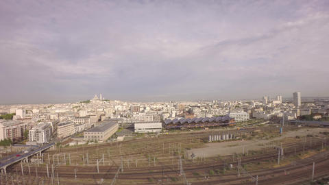 Aerial view of Paris with Gare du nord railway in foreground Footage