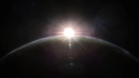 Sunrise Over Planet Earth Animation