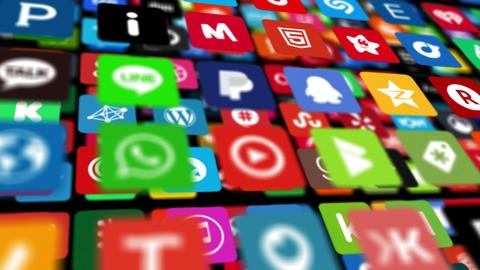 Social Networking, Animation Icons stock footage