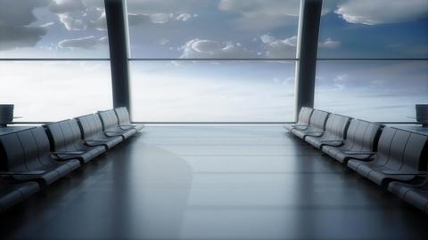 Abstract an empty waiting hall 3d render Animation