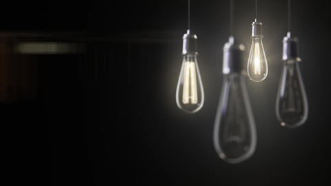 Group of vintage bulb lights 3d animation Animation