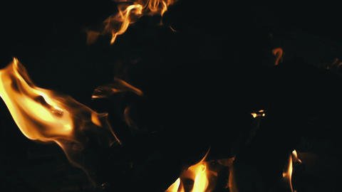 Closeup of Flames Burning on Black Background Footage