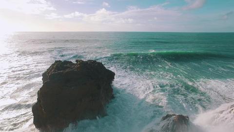 Big Ocean Waves Breaking on Rock, storm weather Footage