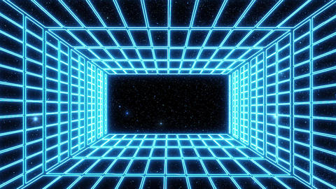 Blue Neon Grid Room Environment with a Starfield Motion Graphic Background Animation