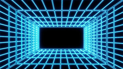 Blue Neon Grid Room Environment Motion Graphic Element Animation