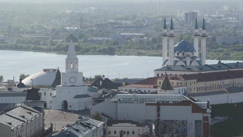 Amazing Upper View Ancient Kazan Kremlin among City Footage