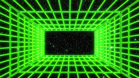 Green Neon Grid Room Environment with a Starfield Motion Graphic Background Animation