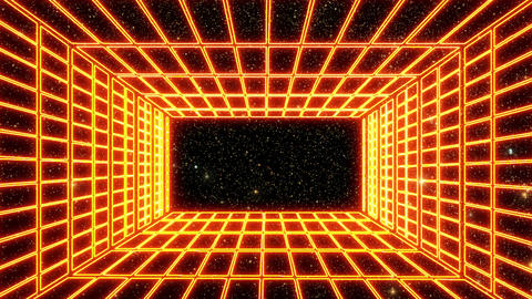 Orange Neon Grid Room Environment with a Starfield Motion Graphic Background CG動画素材