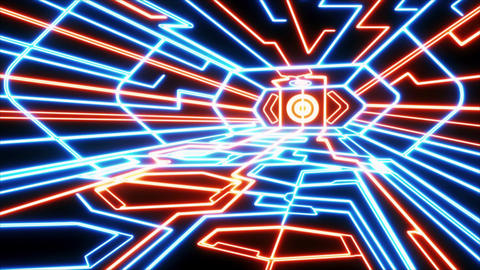 Red Blue Outer Space Neon Room Environment Motion Graphic Element CG動画素材