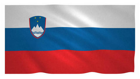 Flag of Slovenia waving on white background Animation
