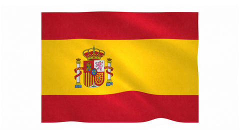 Flag of Spain waving on white background Animation
