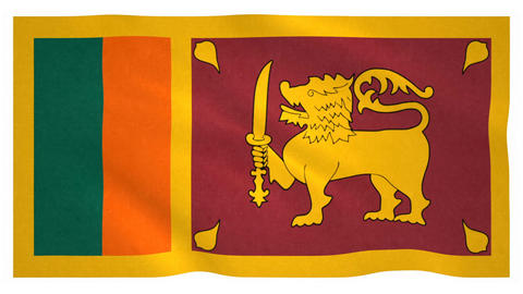 Flag of Sri Lanka waving on white background Animation