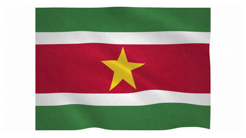 Flag of Suriname waving on white background Animation