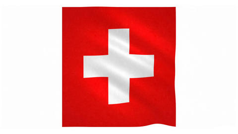 Flag of Switzerland waving on white background Animation