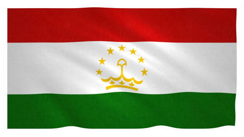 Flag of Tajikistan waving on white background Animation