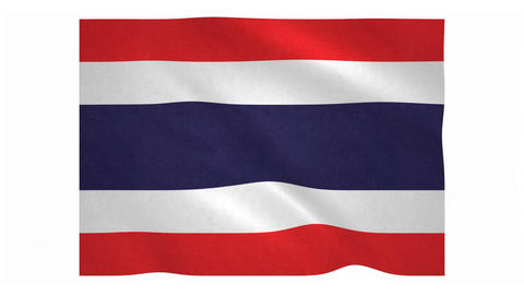 Flag of Thailand waving on white background Animation