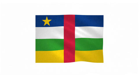 Flag of Central African Republic waving on white background Animation