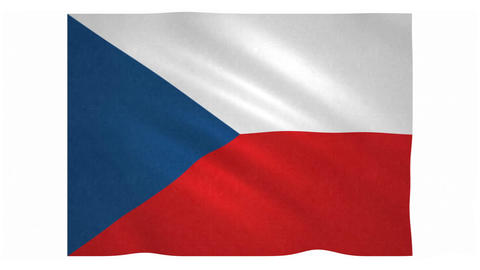 Flag of Czech Republic waving on white background Animation