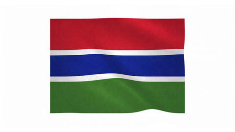 Flag of Gambia waving on white background Animation