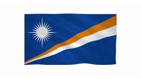 Flag of Marshall Islands waving on white background Animation