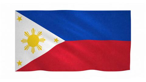 Flag of Philippines waving on white background Animation