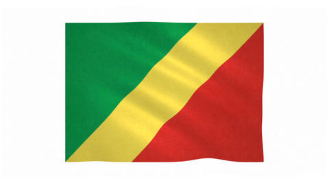 Flag of Republic of the Congo waving on white background Animation